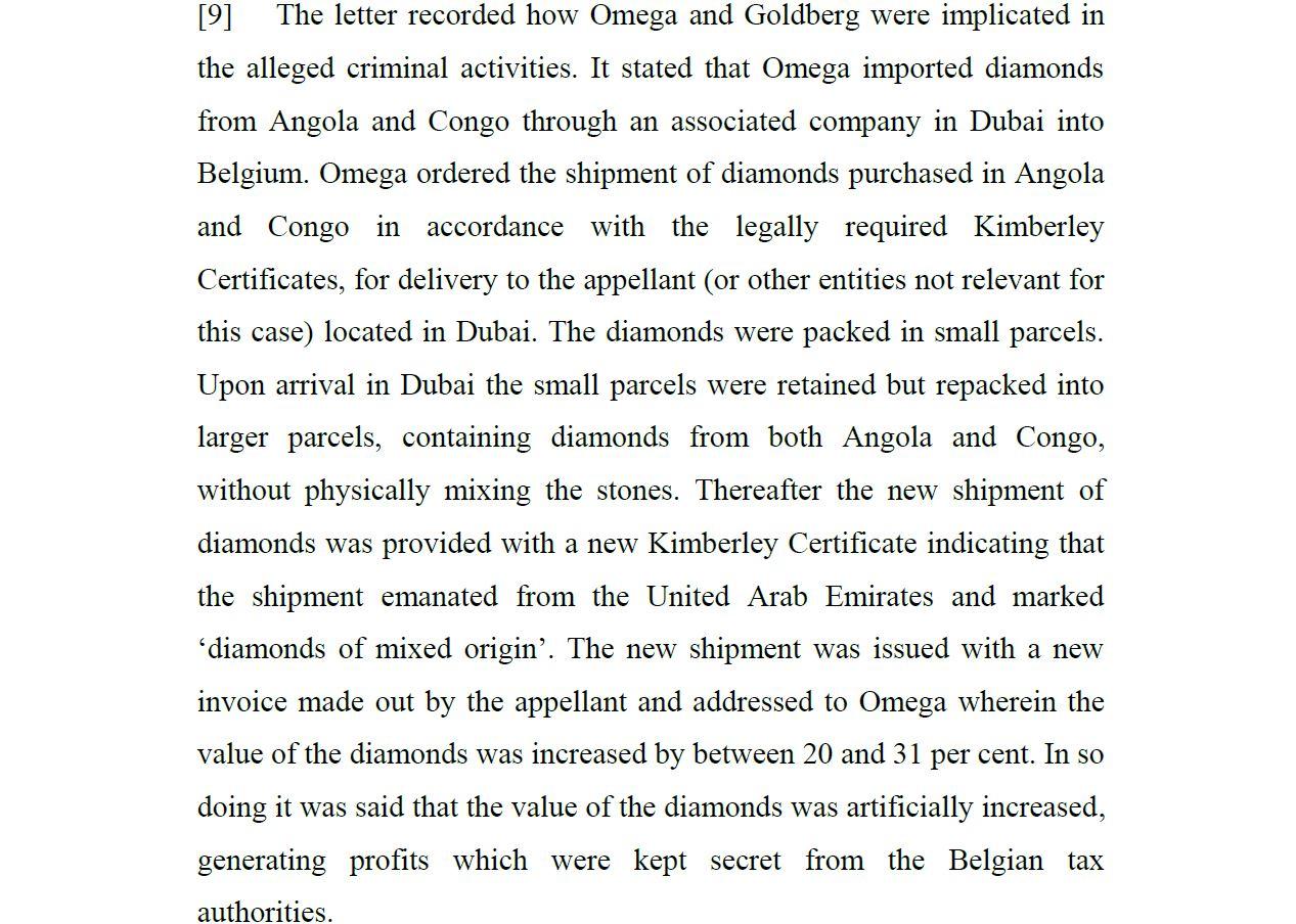 Revealed Omega Diamond s Fraudulent Settlement with Belgian